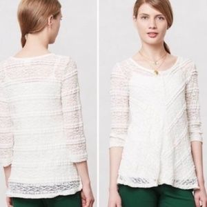 Anthropologie Lilka Colette Sheer Lace Blouse Top